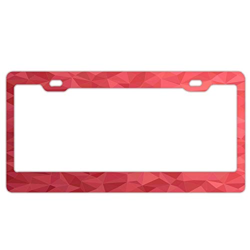 FunnyLpopoiamef Pink Triangle Geometric Textured Mosaic Pattern Stainless Steel License Plate Frame Black, Car Licenses Plate Covers Holders for US Vehicles 2 Hole and Screws