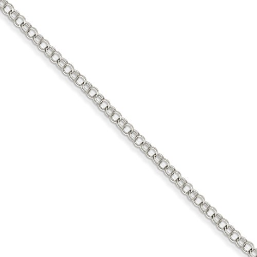 14k White Gold 3.5mm Solid Double Link Charm Bracelet 7 Inch Fine Jewelry For Women Gift Set (14k Charm White Gold Bracelet)