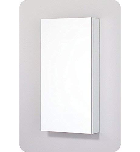 Robern PLM1630W PL Series Flat Plain Mirrored Door, 15-1 4-Inch W by 30-Inch H by 3-3 4-Inch D, White Interior