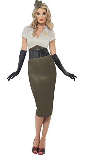(Ladies WW2 Army Military Pin Up 1940s Glamour Sexy Fancy Dress Costume Plus Size (UK 16-18))