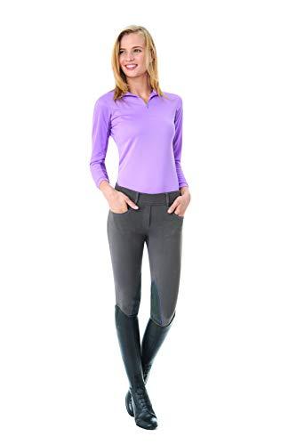 Seat Euro -    Ovation Women's Euro Knit Melange Full Seat Cotton Tight Clarino Riding Tights, Storm/Purple, Medium (28 Regular)