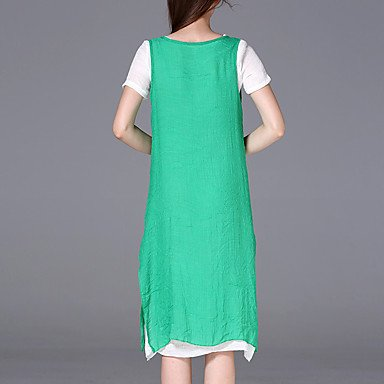 PU&PU Robe Aux femmes Ample Vintage,Couleur Pleine Col Arrondi Mi-long Coton / Rayonne , red , l