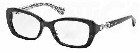 Coach HC6051 Elvira Eyeglasses 5214 Black/Black White Sig C 52 17 - White Sunglasses Coach