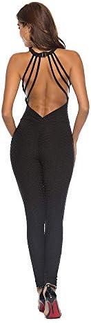 レディースジャージ上下セット エクササイズフィットネスパンツ女性黒背中の開いたワンピースヨガパンツ (サイズ : XL)