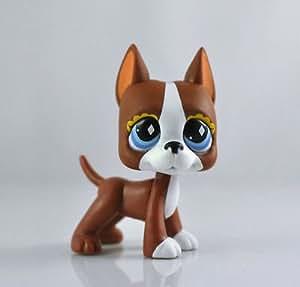 Catzaashop #588 LPS Littlest Pet Shop Brown and White Great Dane Puppy Dog diamond Eyes Toy