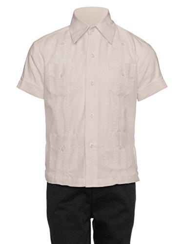 Gentlemens Collection Guayabera Shirt for Boys - Linen Look Cuban Shirt Great for Beach Wedding Beige -