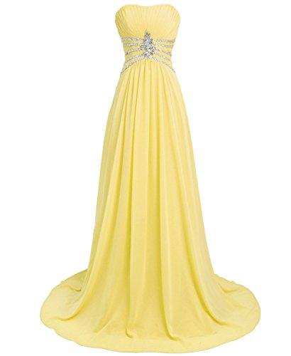 Bridal_Mall - Vestido - trapecio - Sin mangas - para mujer amarillo