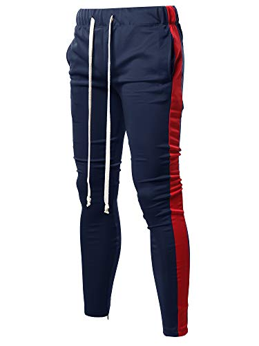 Slim Track - Style by William Casual Side Panel Long Length Drawstring Ankle Zipper Track Pants Navy Red M
