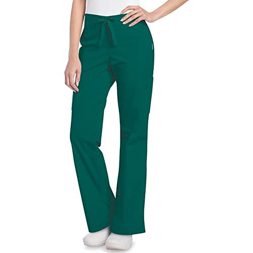 - Landau Women's Updated Cargo Scrub Pant X-Small Hunter Green