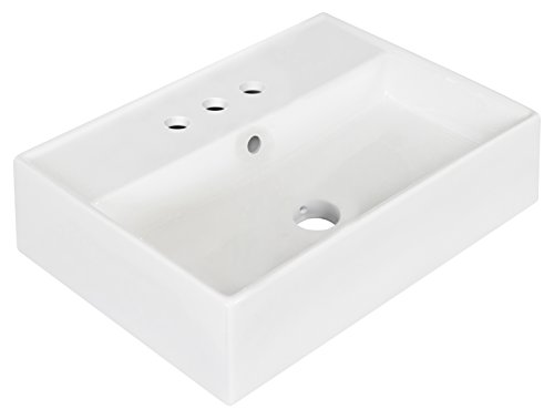 American Imaginations AI-7-1332 Wall Mount Rectangle Vessel for 4-Inch OC Faucet, 20-Inch x 14-Inch, White from American Imaginations