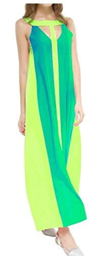 Long Womens Cut Dresses Cromoncent Tank Out Green Splice Loose Contrast Color UP0wg1