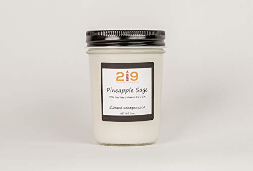 Pineapple Sage Scented Soy Jar Candle Birthday Gift Idea for Her
