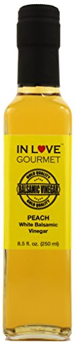 In Love Gourmet Peach White Balsamic Vinegar 250ML/8.5oz Great on Red Meats and Game Meats, Drizzle on Veggie and Fruit Salads