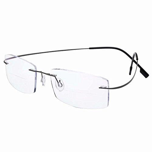 - HUIHUIKK Lightweight Rimless Frame +2.00 Bifocal Reading Glasses Gray Readers Spectacles w Case New!