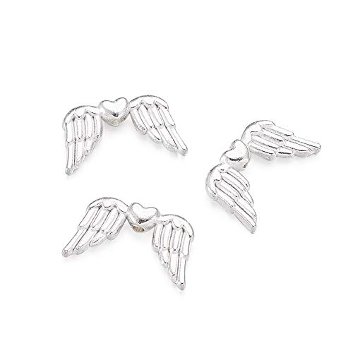 Pandahall 50pcs Tibetan Silver Metal Beads Angel Wing Slider Charms Spiral Wing Beads Spacer Link Connectors for Jewelry Makings Lead Free & Cadmium Free Silver Color ()