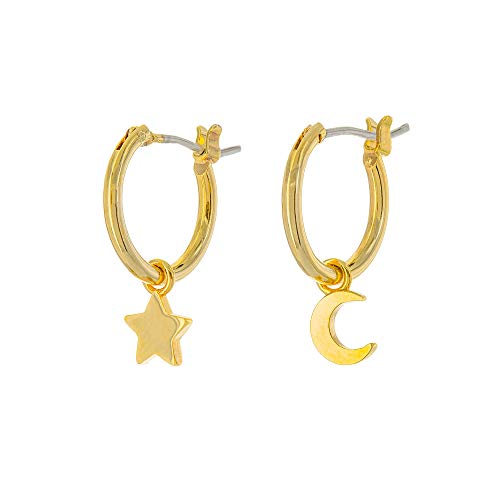 Columbus 14K Gold Plated Moon and Star Charm Huggie Hoop Earrings - Dangle Drop Earrings for Women (Gold Moon/Star)