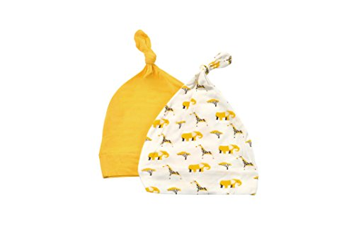 (KYTE BABY Organic Bamboo Rayon Baby Beanie Hats - Super Soft Knotted Caps Available in Pattern and Solid Colors - 2 Pack (3-6 Months, Sunshine/Safari))