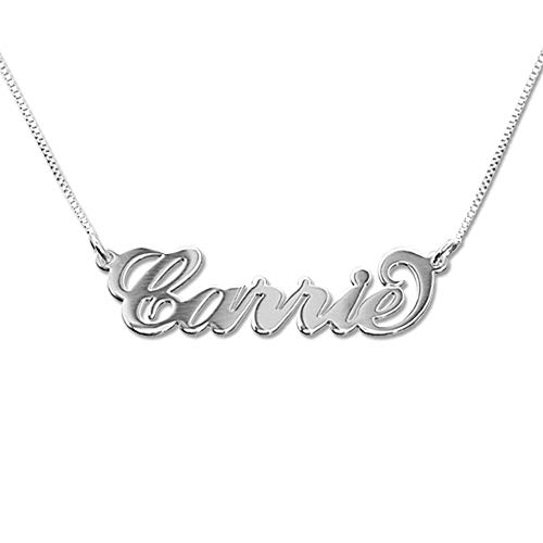 (MyNameNecklace Small Name Necklace - Small Carrie Pendant - Custom Jewelry (16, 14k White Gold))
