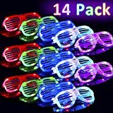 14 Pack Flashing Glasses Glow LED Light Up Shades Show Toy for Kids Men Women Holiday Birthday Party Favors Gift, Glow in The Dark Glasses Rave Neon Party Supplies Easter Party Favors Shutter Shades