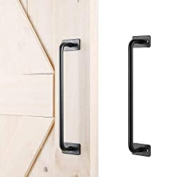 Barn Door Handle, La Vane Antique Rustic Powder Coated Black Finish Sliding Barn Door Handle Pull Hardware, Heavy Duty, Easy to Install for Gate Kitchen Furniture Closet
