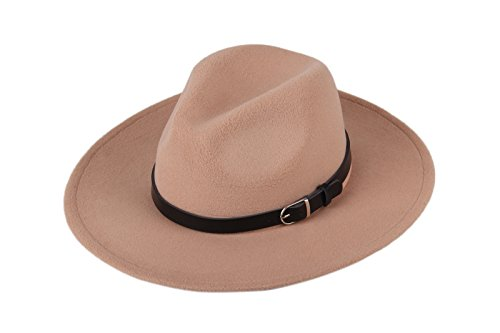 Dantiya Women'/s Wide Brim Wool Fedora Panama Hat with Belt Camel, One Size]()