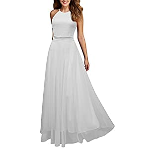 Viwenni Women's Vintage Lace Evening Party Wedding Long Dress
