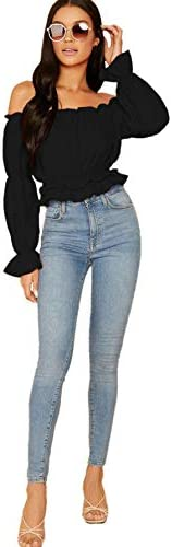 SheIn Women's Sexy Striped Off Shoulder Long Sleeve Shirt Ruffle Trim Blouses Top