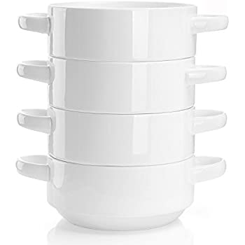 Sweese 108.101 Porcelain Bowls with Handles - 20 Ounce for Soup, Cereal, Stew, Chill, Set of 4, White