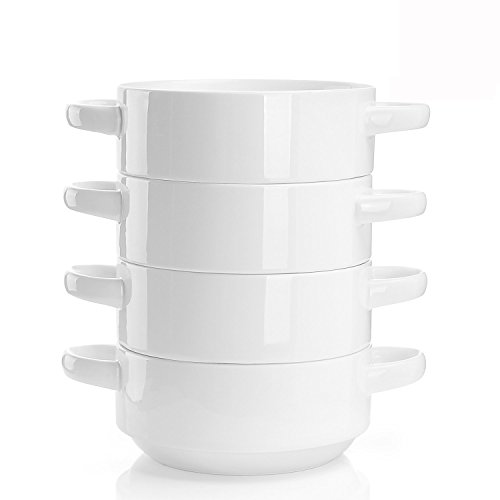 Sweese 108.101 Porcelain Bowls with Handles - 20 Ounce for Soup, Cereal, Stew, Chill, Set of 4, White (Oz With Handle Mugs Soup 20)
