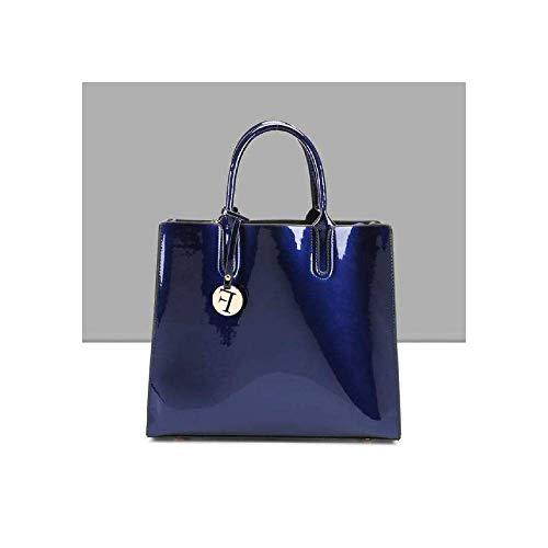 BagPrime - Bolso de mano clásico y moderno para mujer con diseño de celosía y patente, bolso de hombro de piel brillante...