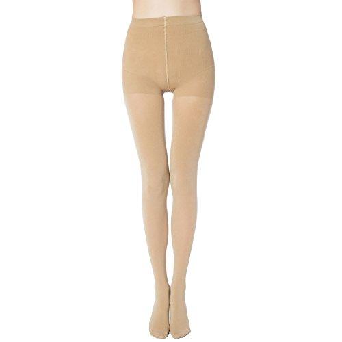 MANZI 2 Pairs Women's Run Resistant Control Top Panty Hose Opaque Tights(Medium,Nude) (Womens Nude Opaque Pantyhose)