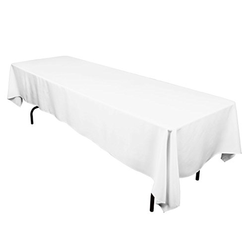 "Gee Di Moda Rectangle Tablecloth - 60 x 126"" Inch - White Rectangular Table Cloth for 8 Foot Table in Washable Polyester - Great for Buffet Table, Parties, Holiday Dinner, Wedding & More"