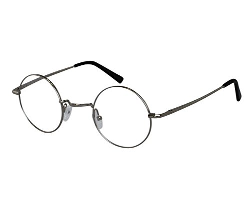 EyeBuyExpress Bifocal Reading Glasses Men Women Silver Round Horned Rim Light Weight ()