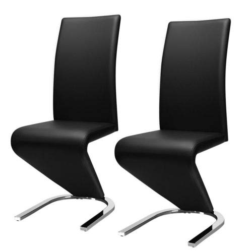 - 2 Pcs Dining Chair PU Leather High Back W/U-Shaped Foot Padded Cushion Black with Ebook
