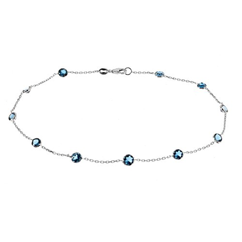 14k White Gold Handmade Station Anklet With London Blue Topaz Gemstones 9 - 11 Inches by amazinite