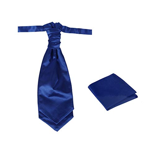 Dan Smith C.C.AQ.M.004 Dark Blue Ascot Tie Satin Wedding Solid Men's Pre-tied Cravat Hanky ()