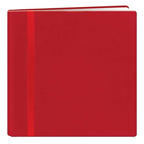 Pioneer 12 Inch by 12 Inch Snapload Fabric Cover with Ribbon Trim Memory Book, Red (Red Pioneer Scrapbook)