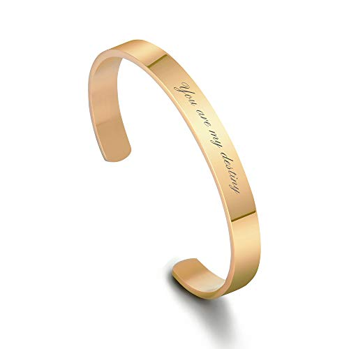 Personalized Stainless Steel Mirro Polished Cuff Bracelet - Free Engraving (Gold)