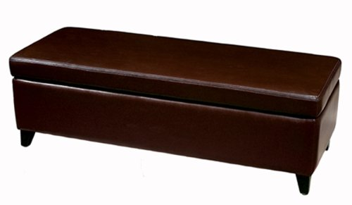 Attractive Amazon.com: Baxton Studio Full Leather Bench Storage Ottoman, Espresso  Brown: Kitchen U0026 Dining