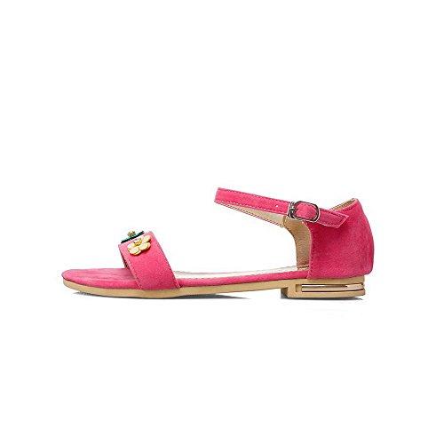 AalarDom Mujer Puntera Abierta Mini Tacón Sólido Sandalias de vestir Rosa-FENS