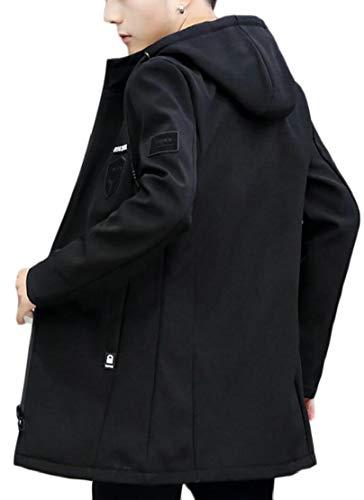 Con Cappuccio Metà Sottile zip Nero Ttyllmao Cappotto Misura Trench Mens Lunga Di Front Windbreaker Outwear Lunghezza wfapq7P