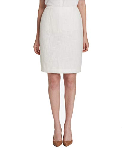 Calvin Klein Women's Tweed Pencil Skirt, Regular & Petite (Cream, ()