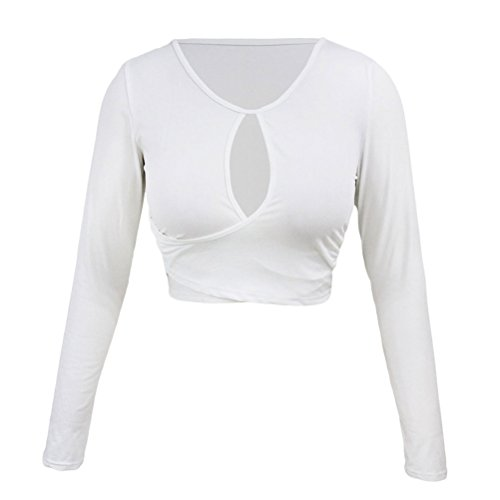YeeATZ White Long Sleeves Keyhole Bust Wrap Crop Top(Size,M)