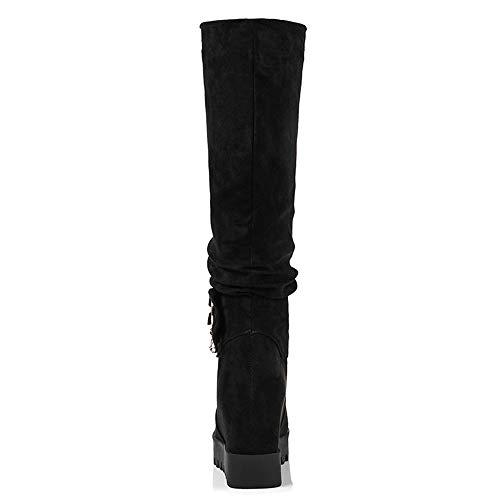 Taoffen Compensé Noir Bottes Longue Femmes Plateforme Mode Talon qZW47HqFa