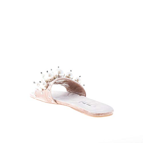 Donna Miu In Velluto Cameo Rosa Perle Con Slide Sandalo SUawPSq