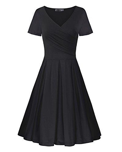 STYLEWORD Women's Short Sleeve V Neck Casual Elegant Dress(Black,M) (Black Sleeve Dress Empire Short In)