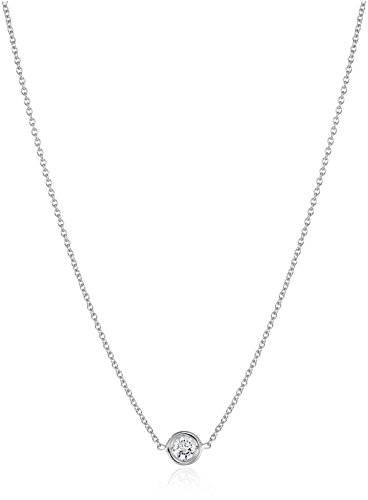Roberto Coin Tiny Treasures 18k White Gold Diamond Station Pendant Necklace (1/10cttw, G-H Color, SI1 Clarity), 16