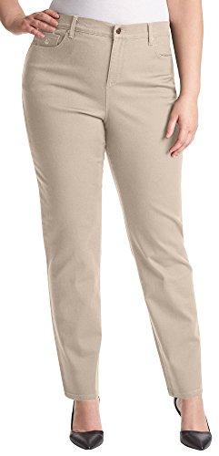 Gloria Vanderbilt Women's Plus Size Amanda Classic Tapered Jean, Perfect Khaki, (Classic Denim Khakis)
