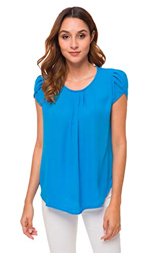 (Womens Chiffon Simple Pleated Casual Blouse Round Neck Short Sleeve Tops Blue XL)