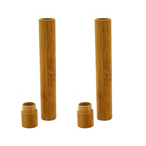 TANGON Natural BambooToothbrush Case Tube Holder Corner Organizer Storage Basket Rack for Travel Kitchen and Bathroom BathtubToilet (Brown) ()
